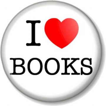 I Love / Heart BOOKS Pinback Button Badge School Reading Geek Chic Nerd Literature